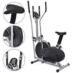 2 IN 1 Elliptical Fan Bike Dual Cross Trainer Machine Exerci