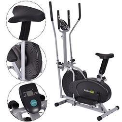 Gymax 2 IN 1 Elliptical Fan Trainer Exercise Bike Indoor Hom
