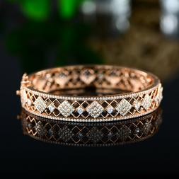 18k gold plated swarovski elements oval bangle