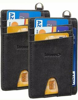 2 Pack Slim Minimalist Front Pocket RFID Blocking Credit Car