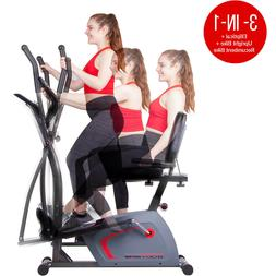 3-IN-1 WORKOUT MACHINE INDOOR EXERCISE BIKE CARDIO TRAINER E