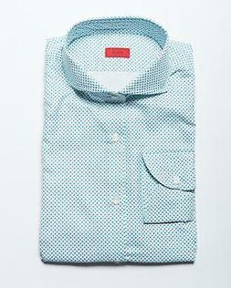 Isaia $495 White Gray Blue Oval Pattern Cotton Slim FIT Spor