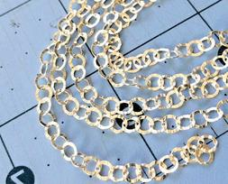 925 Sterling silver cable chain BY THE FOOT hammered texture