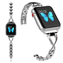 Lwsengme Compatible with Apple Watch Band Women,Steel Bracel