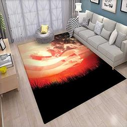 American Flag Door Mats Area Rug Flag Against Red Horizon on