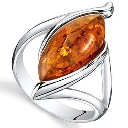 Baltic Amber Elliptical Ring Sterling Silver Cognac Color Ma