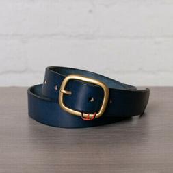 Maximum Henry Belt Size 28 Dark Blue Leather Oval Brass Buck