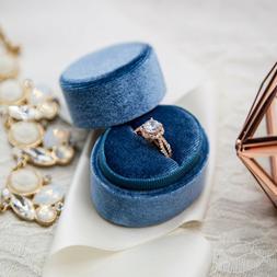 Blue Oval Vintage Inspired Velvet Heirloom Ring Box - Single