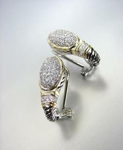 CLASSIC Balinese Silver Cable Gold Pave CZ Crystals Oval Ome