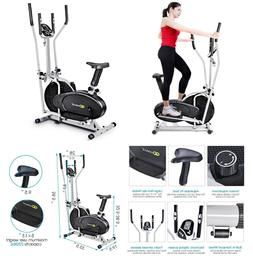 Elliptical Dual Cross Trainer Machine Exercise Upright Fan B