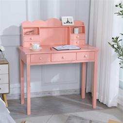 Durable Student Writing Desk Girls Study Desk with 7 Drawers