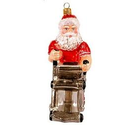 Exercising Santa on Elliptical Polish Glass Christmas Tree O