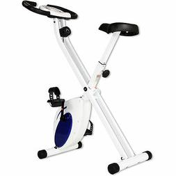 Folding Upright Exercise Bike with Heart Rate, Contoured Sea