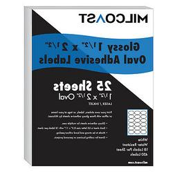 """Milcoast Glossy Adhesive 1-1/2"""" x 2-1/2"""" Oval Labels - 450 L"""