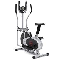Gray, Elliptical Bike 2 IN 1 Cross Trainer Exercise Fitness