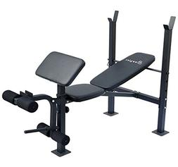 Soozier Incline/Flat Exercise Free Weight Bench w/Curl Bar/L