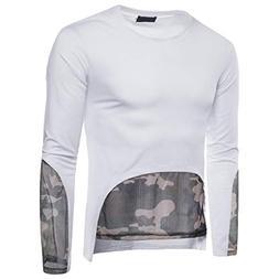 kaifongfu Tops,Patchwork Camouflage Tops,Long Sleeve Men T S