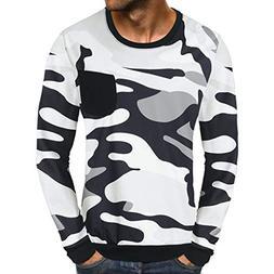 kaifongfu Camouflage Tops,Men Classic Sweatshirt Top Long Sl