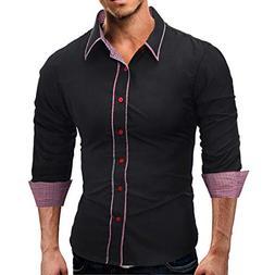 kaifongfu Men Solid Color Shirt,Fashion Long Sleeve Men Shir