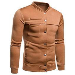 kaifongfu Pullover Tops,Men Pure Color Long Sleeve Sweatshir