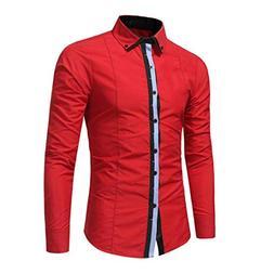 kaifongfu Shirt,Autumn Men's Formal Slim Shirt Long Sleeve B