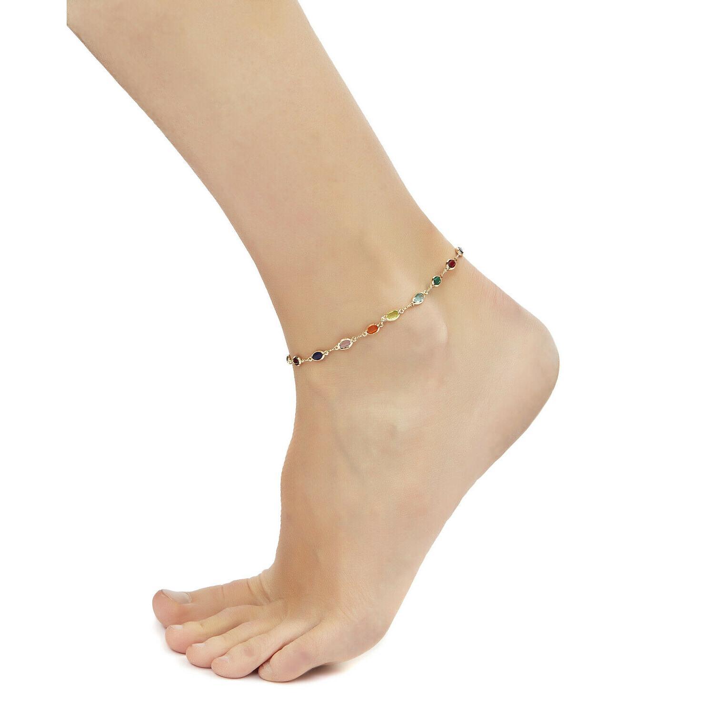 Sevil Plated Dark Multi Crystal Baguette Anklet