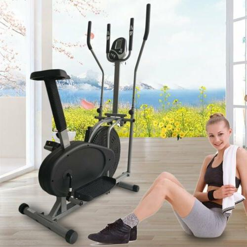 2 in 1 Elliptical Bike Trainer Fitness Workout Gym Display US