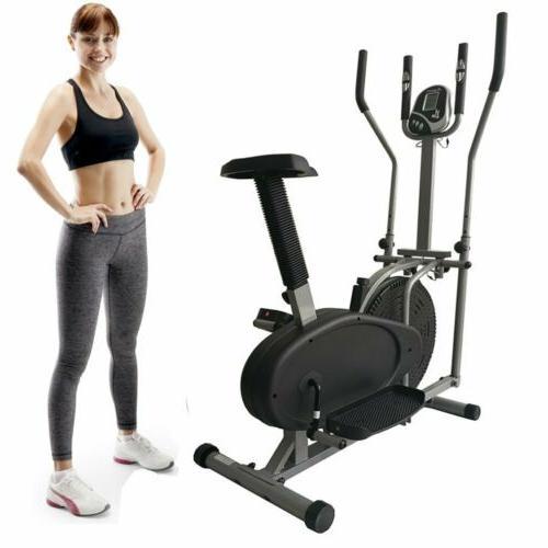 2 in 1 Elliptical Bike Cross Trainer Exercise Fitness Workou
