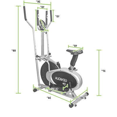 2 Bike Cross Trainer Fitness Workout Machine