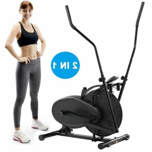 2 in 1 Elliptical Machine Exercise Upright Fan Bike Dual Tra