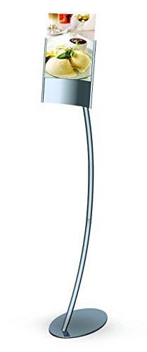 Elliptical Pedestal Sign Holder Stand with Angled, Curved Sl