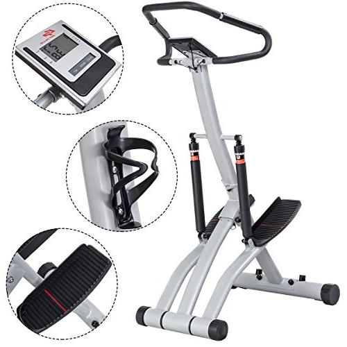 Goplus 2 Folding Step Machine Climber with Levels, Heart LCD Holder for Workout