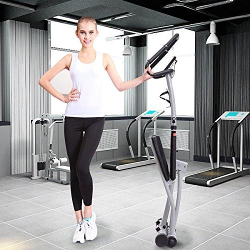 Goplus 2 in Folding Machine Climber Levels, Heart LCD and Bottle Holder Perfect Aerobic Workout