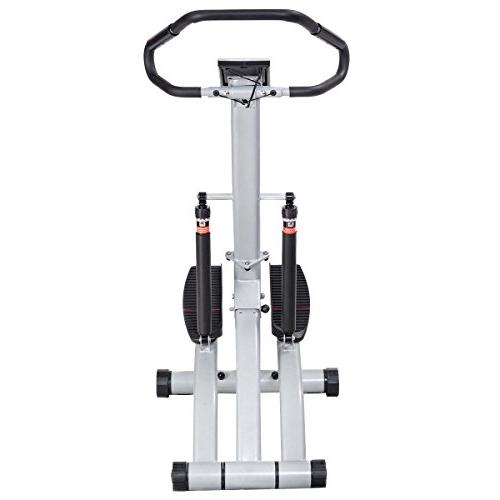 Goplus 2 1 Folding Step Climber with 12 Rsistance Levels, Heart Rate, Handrail, LCD Display Holder Perfect for Workout Home