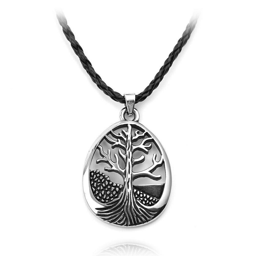 Large Tree Of Life Necklace Leather Silver Alloy