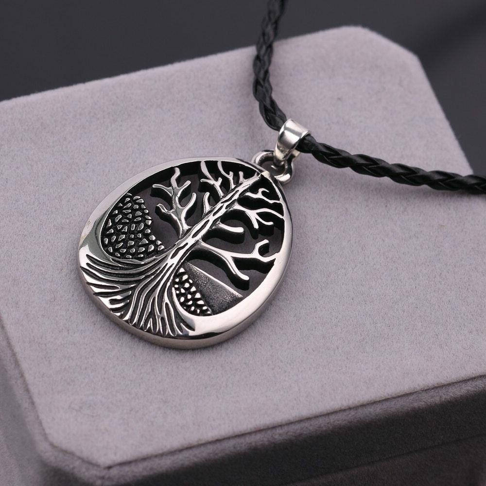 Large Tree Of Life Oval Leather Silver Tone Alloy