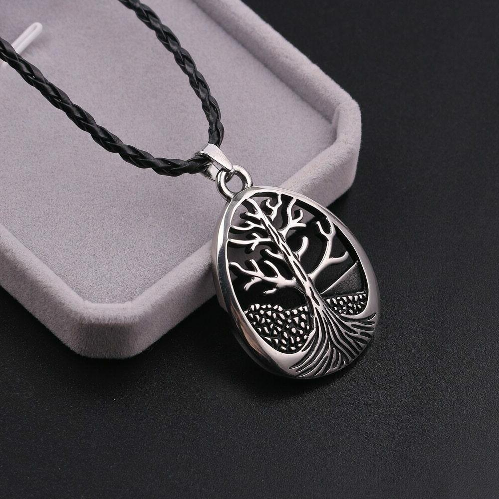 Large Life Leather Cord Silver Alloy