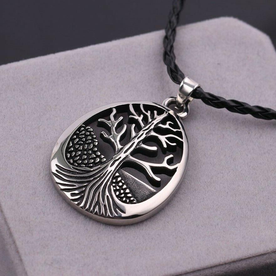 large celtic tree of life oval pendant