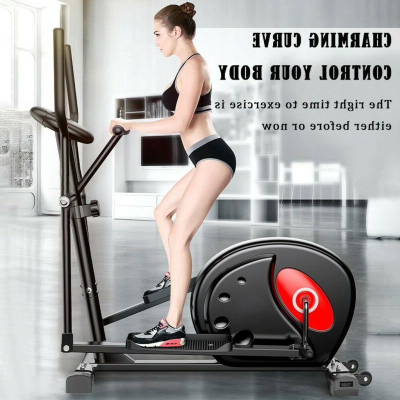magnetic elliptical machine trainer fitness exercise use