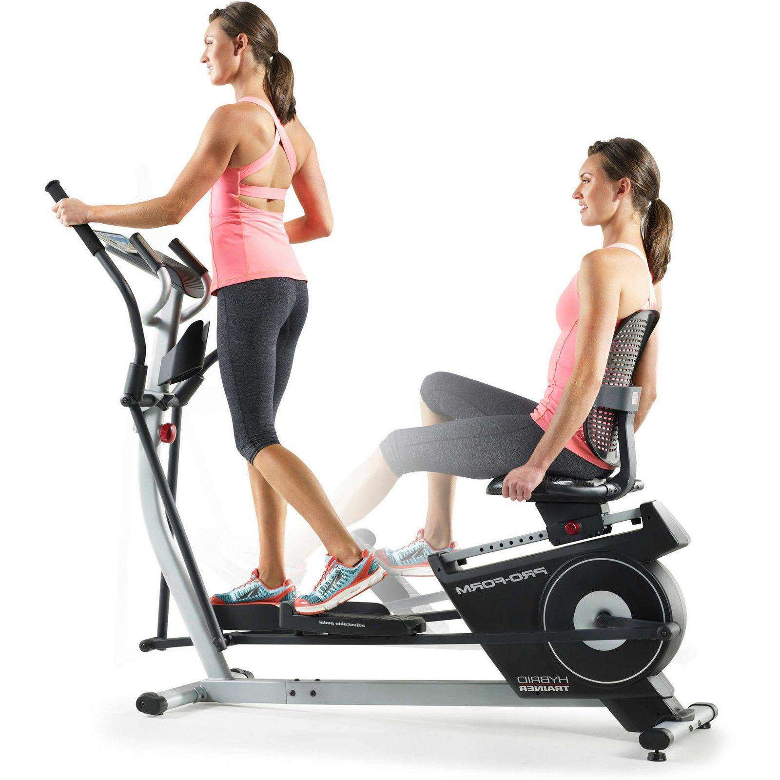 2-in-1 Elliptical Recumbent Bike Machine LCD Screen Exercise