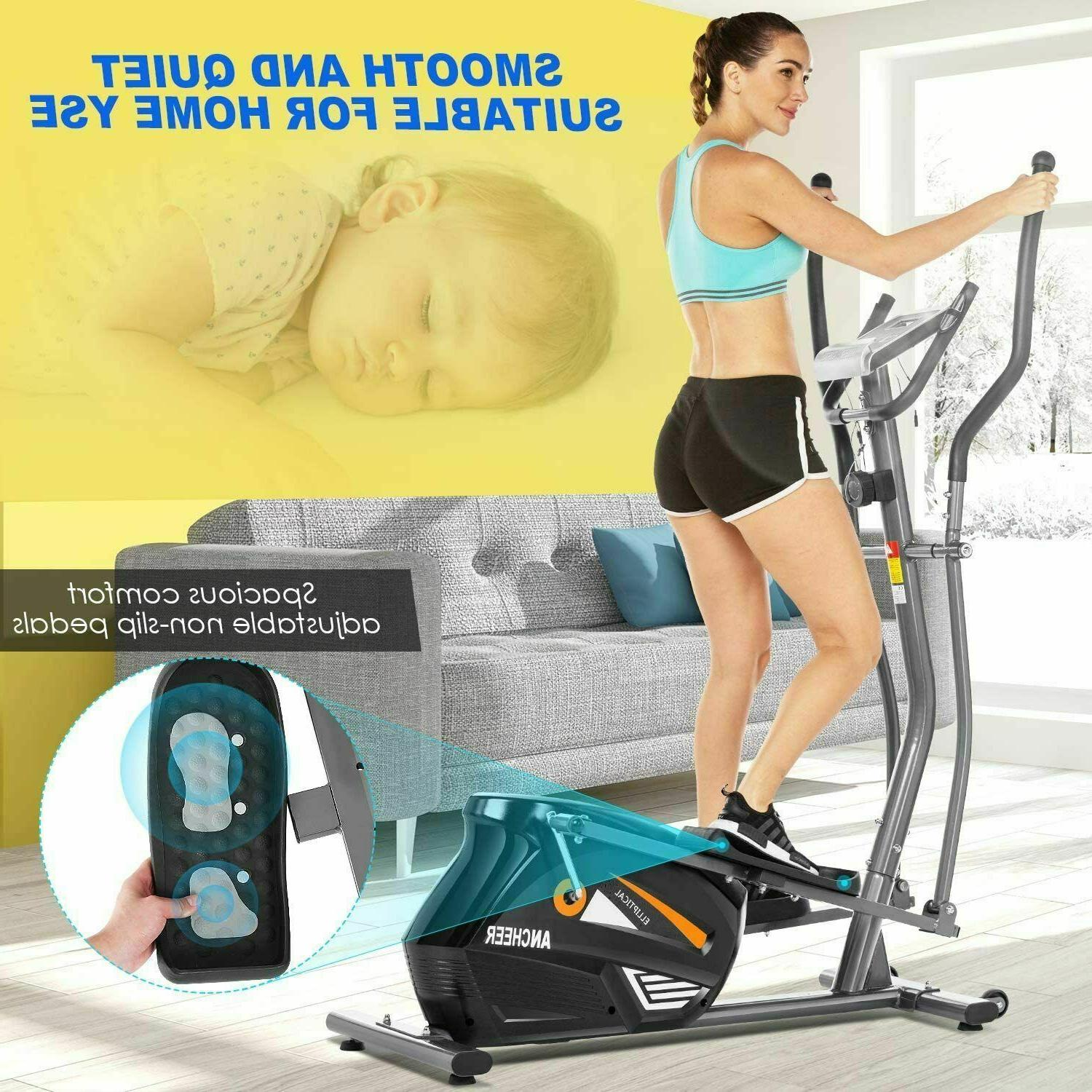 ANCHEER Magnetic Elliptical Machine Powerful Trainer Exercis