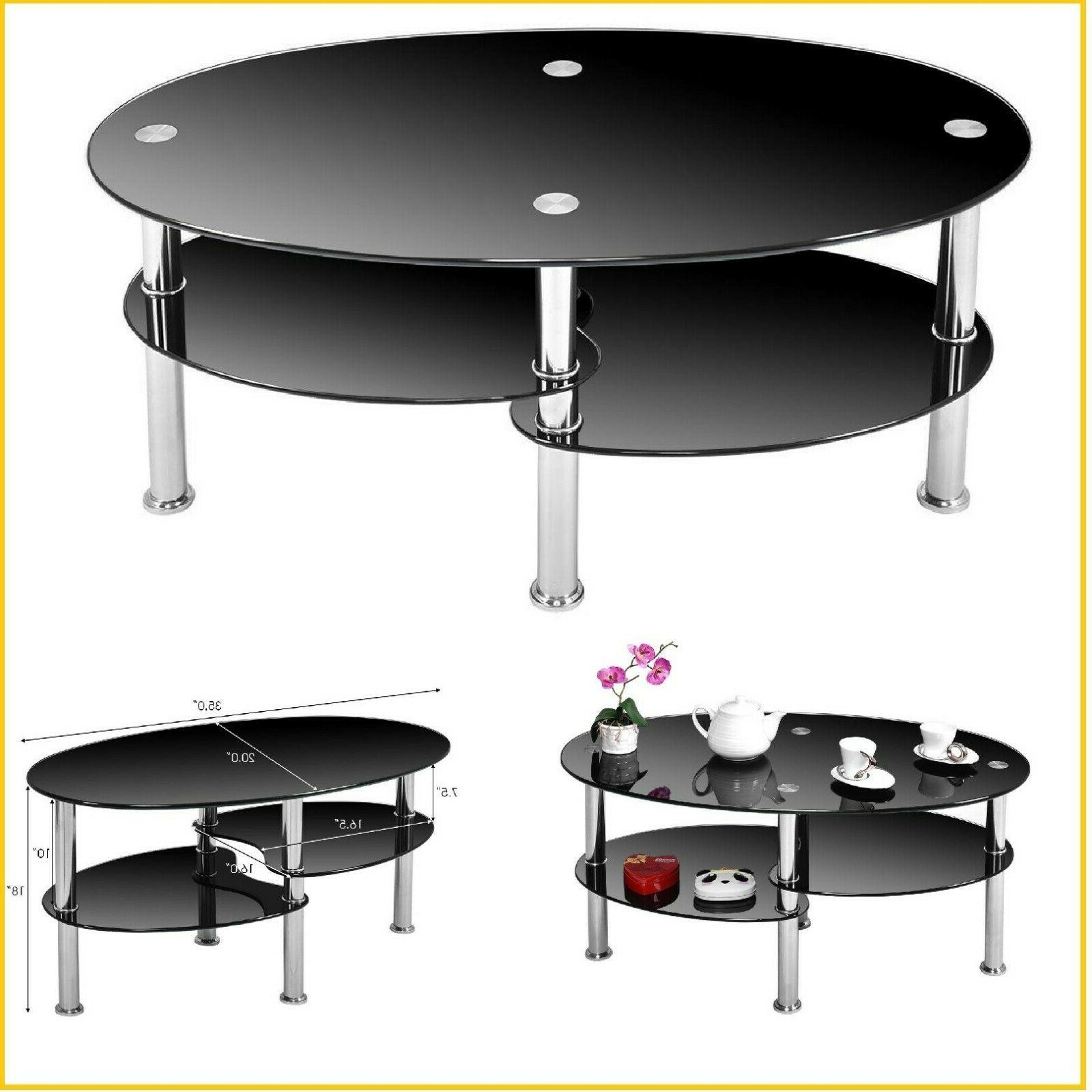 Small Coffee Table With Storage Modern Round Glass End Table