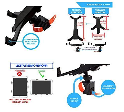 OCTO MOUNT Universal Tablet Car, Bike, Stroller, Golf Cart, Shopping Cart, Desktop, Gym, Bike, - Handlebar