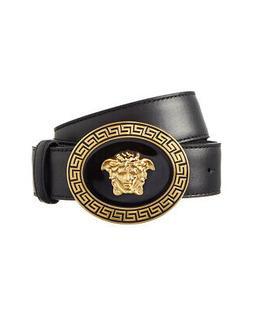 Versace Oval Medallion Vitello Leather Belt Men's