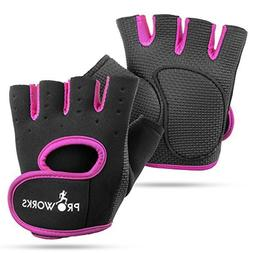 Proworks Women's Padded Grip Fingerless Gym Gloves for Wei
