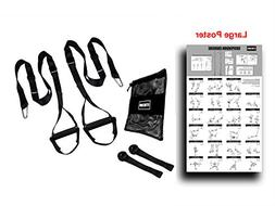 Suspension Resistance Trainer Kit with Full Body Workout Pos
