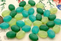 Vintage Czech 9 x 12mm Aqua Green Glass Flat Oval Beads Mix