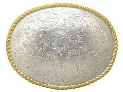 WESTERN COWBOY COWGIRL OVAL ROPE GOLD AND SILVER PLATED TROP