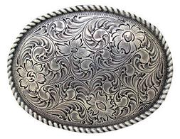 WESTERN COWBOY COWGIRL OVAL ROPE SILVER PLATED RODEO TROPHY